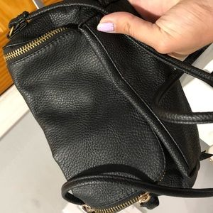 Cute Black Faux Leather Crossbody!